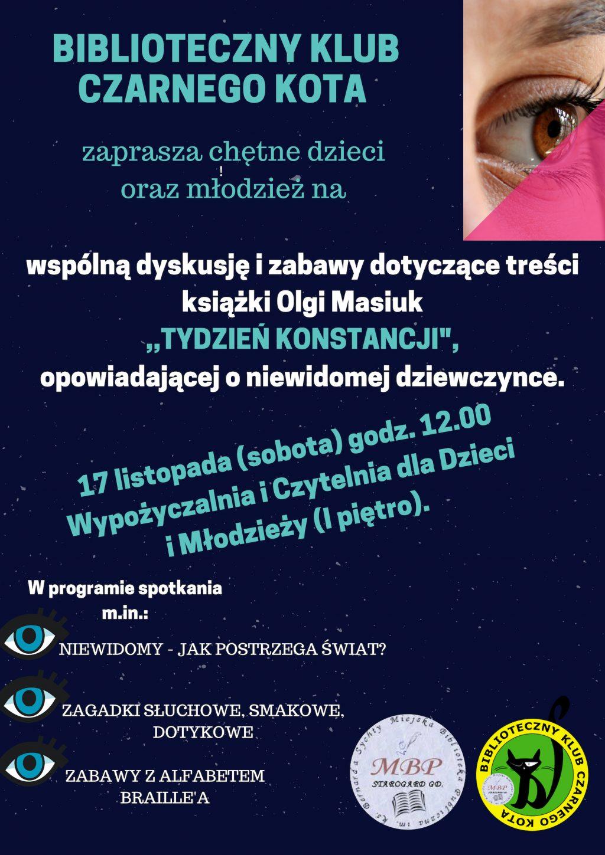 """biblioteczny klub czarnego kota Olga Masiuk - """"Tydzień Konstancji"""""""